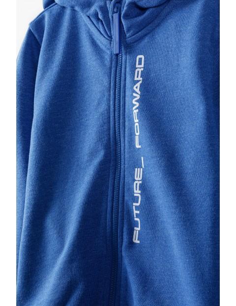 Bluza dresowa dla chłopca - niebieska z kapturem