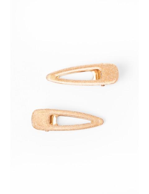 Złote połyskujące spinki dla dziewczynki- 2szt