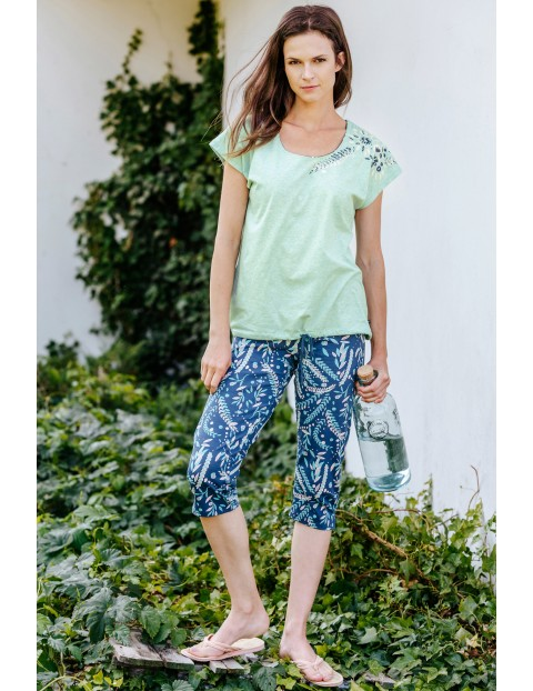Kimonowa piżama damska - koszulka i spodnie spodnie w kwiaty