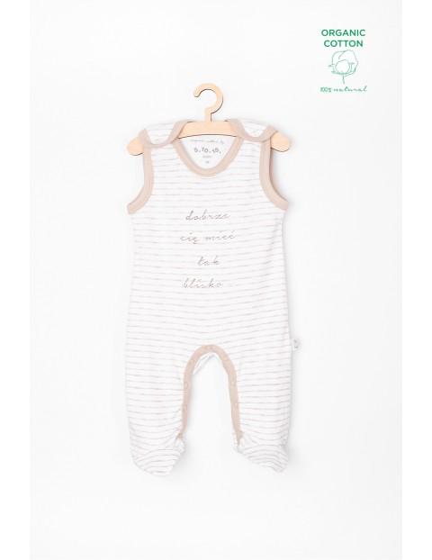 Śpiochy niemowlęce z bawełny organicznej- białe w paski