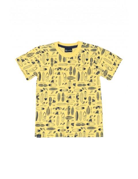 T-shirt chłopięcy we wzorki - żółty