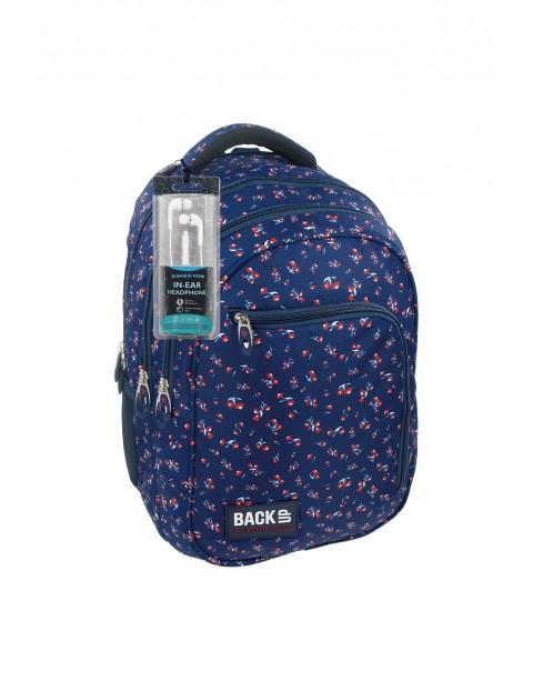 Plecak szkolny dla dziewczynki BackUP+SŁUCHAWKI - niebieski