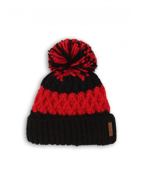Czapka dziewczęca czarno-czerwona z pomponem