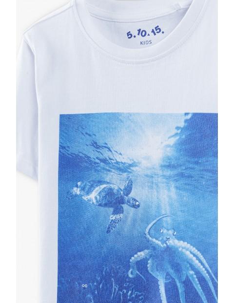 T-shirt chłopięcy w kolorze białym z nadrukiem Ocean Clean