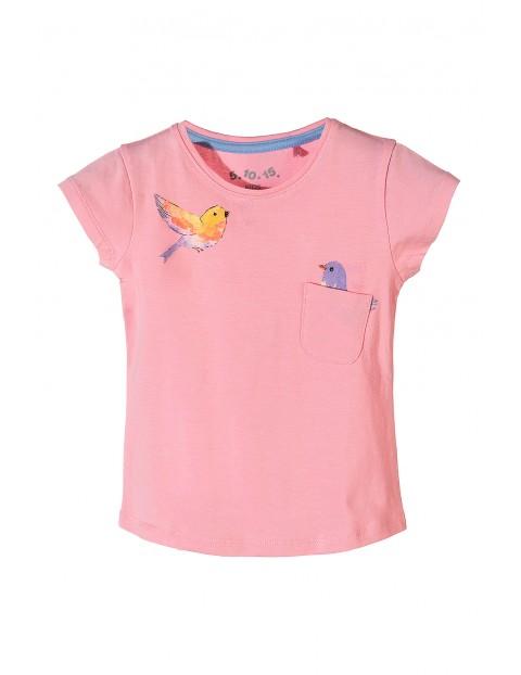 Koszulka dziewczęca z wiosennymi nadrukami-różowa
