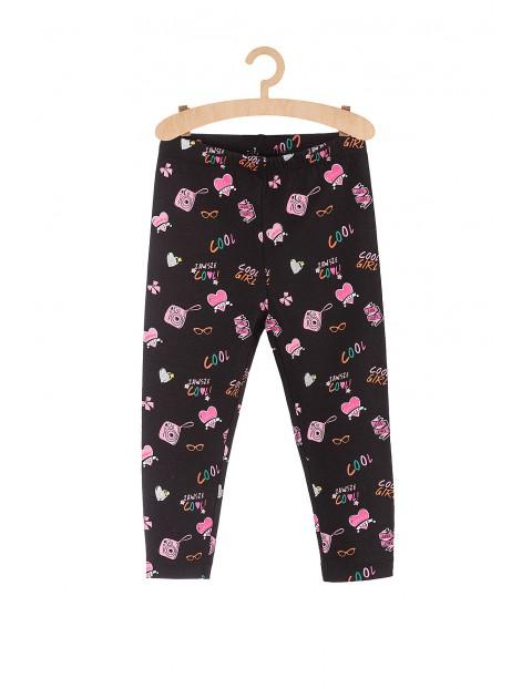 Spodnie dziewczęce czarne z kolorowymi nadrukami