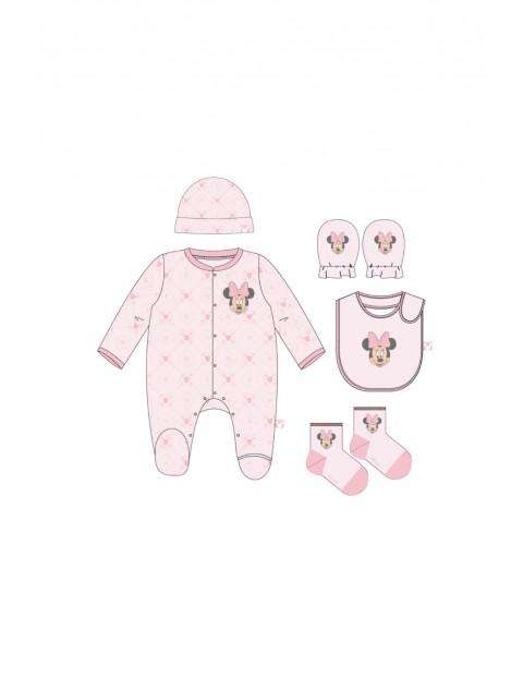 Pajac niemowlęcy + akcesoria - różowy- wyprawka Minnie rozmiar 62