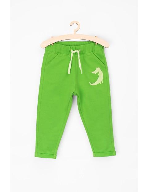 Spodnie dresowe dla niemowlaka-zielone z krokodylem