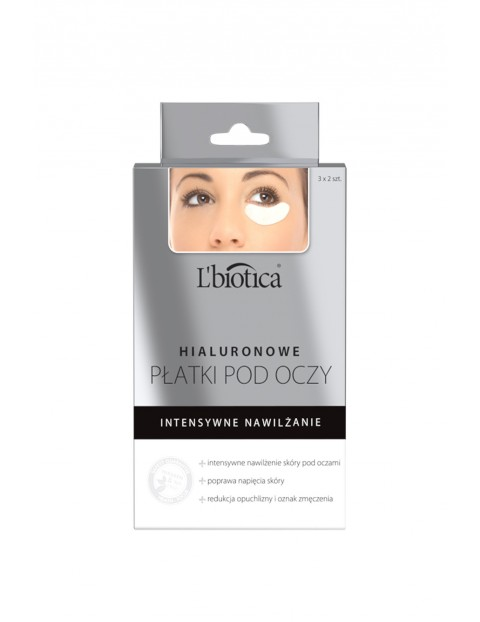 Nawilżające płatki pod oczy z kwasem hialuronowym L'biotica 6szt
