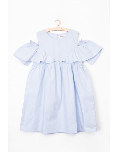 Sukienka dziewczęca na lato- niebieska- 100% bawełna