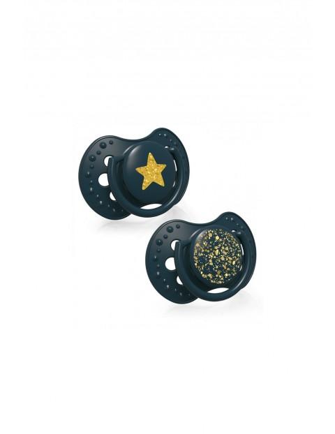 LOVI Smoczek silikonowy dynamiczny 6-18m 2 szt Stardust - zielony