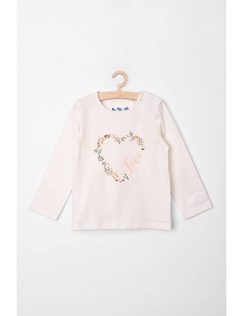 Bluzka dla dziewczynki z serduszkiem - ecru