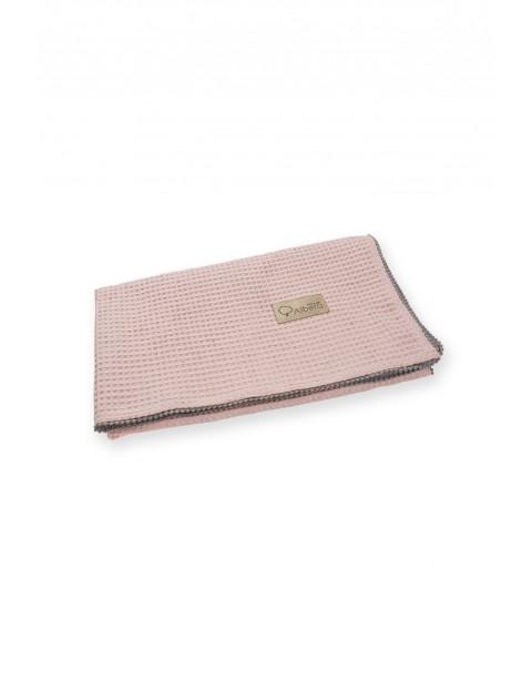 Bawełniany kocyk Wafel brudny róż - 100x75 cm