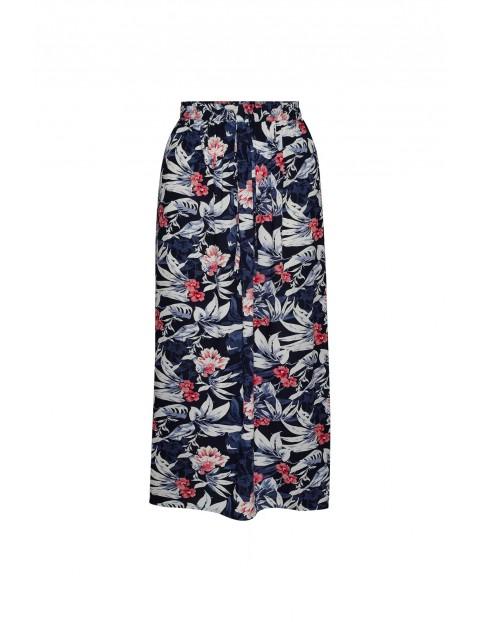 Wiskozowa długa spódnica z kwiatowym nadrukiem