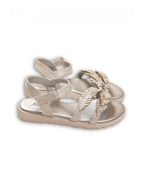 Sandały dziewczęce srebrne z listkami rozmiar 32