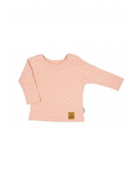 Różowa bawełniana bluzka z długim rękawem