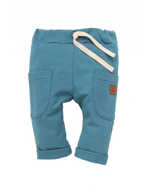Spodnie chłopięce dzianinowe-niebieskie