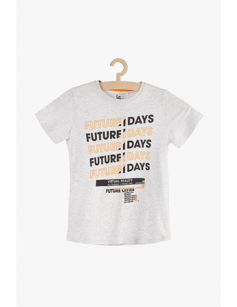T-shirt chłopięcy szary z napisami
