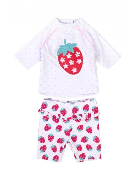 Strój kąpielowy niemowlęcy dwuczęściowy z truskawką