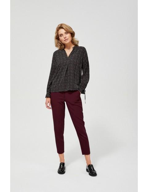 Czarna wiskozowa koszula damska z drobnym wzorem