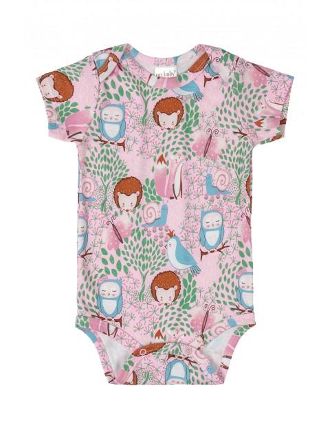 Body niemowlęce różowe w zwierzątka leśne