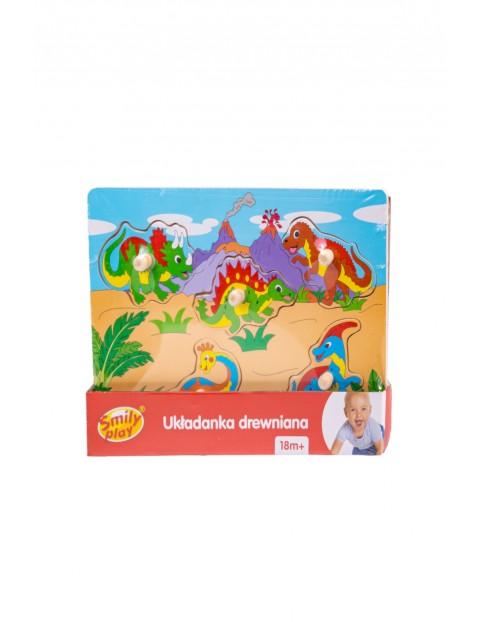 Układanka drewniana Dinozaury 5 elementów Smily Play wiek 18msc+
