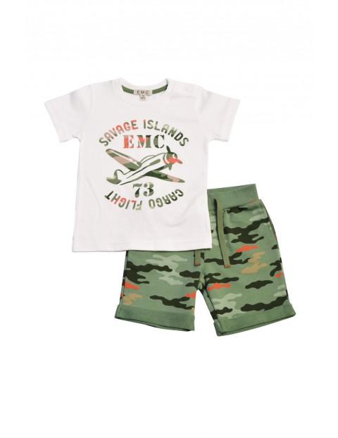 Komplet chłopięcy koszulka i spodenki moro