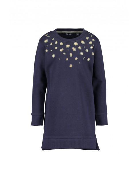 Dzianinowa tunika dla dziewczynki- granatowa