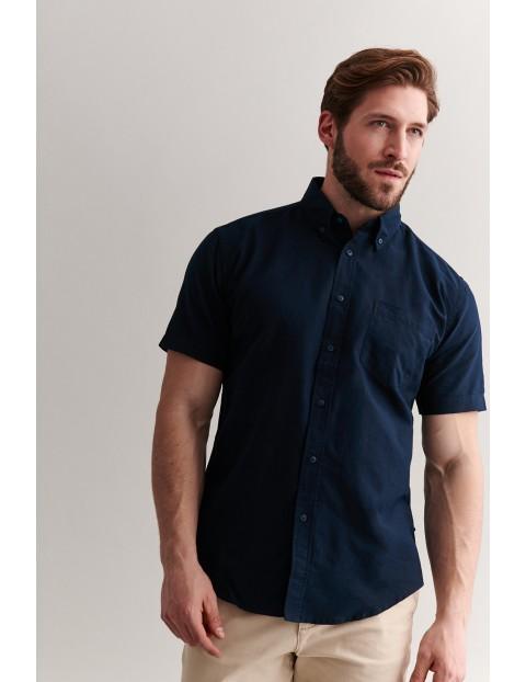 Bawełniana koszula męska z krótkim rękawem - granatowa