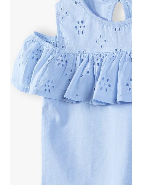 T-shirt dziewczęcy - niebieski z ozdobnymi haftami