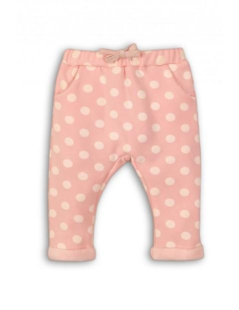 Spodnie niemowlęce-różowe w kropki