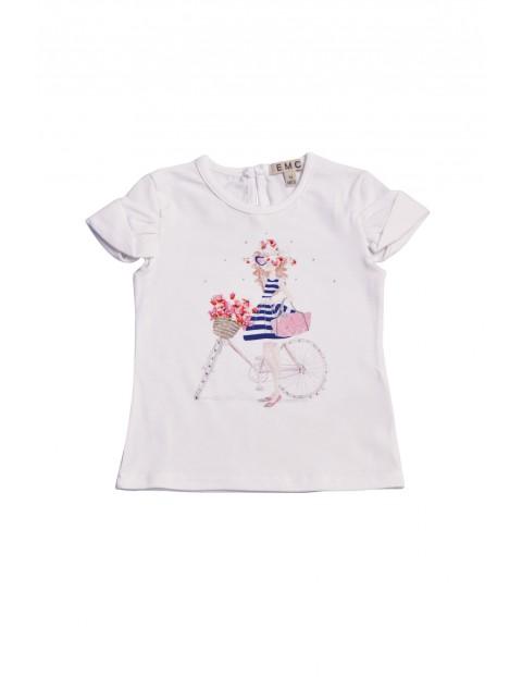 Koszulka dziewczęca z kolorowym nadrukiem