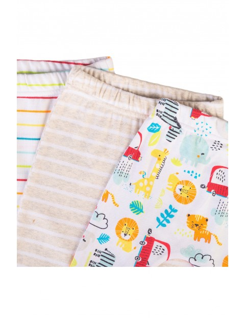 Półśpiochy niemowlęce bawełniane Safari 3-pak