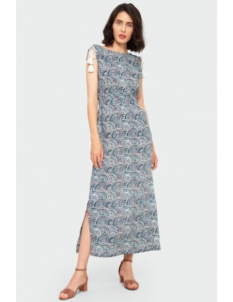 Wiskozowa długa sukienka z nadrukiem z okrągłym dekoltem, ściągaczami na ramionach, bez rękawów