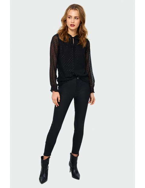 Bluzka z długim rękawem w kropki - czarna