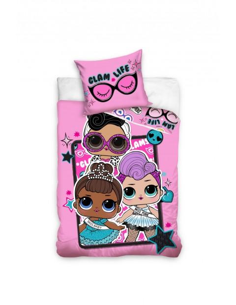 Komplet pościeli bawełnianej dla dziewczynki LOL Suprise 160x200+70x80 cm