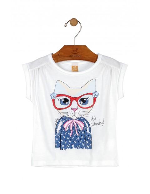 T-Shirt dziewczęcy biały z kotkiem- 100% bawełna