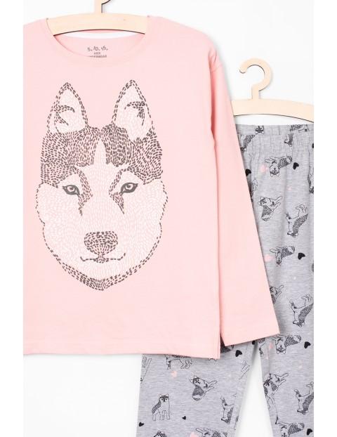 Piżama dla dziewczynki- szaro- różowa z pieskiem