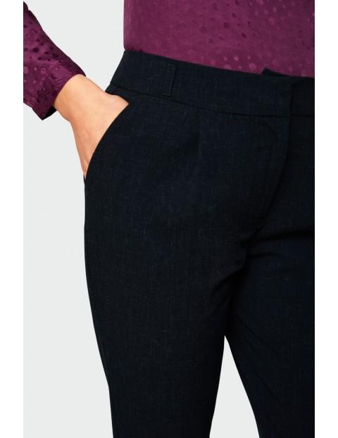 Klasyczne spodnie z zakładkami - granatowe
