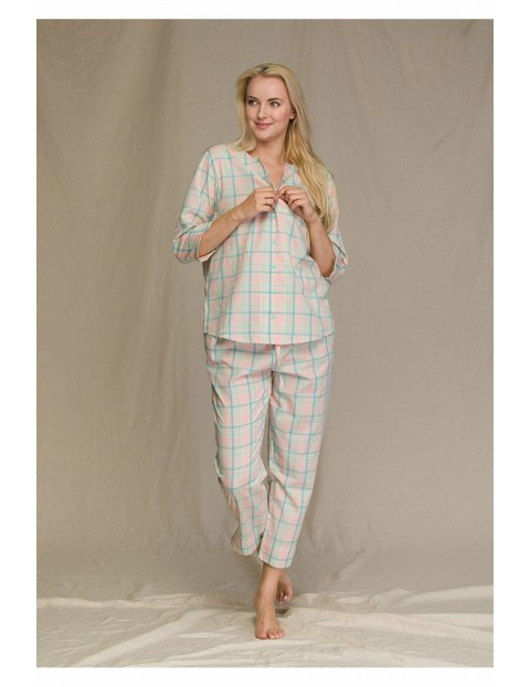 Pastelowa piżama w kratę