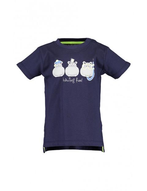 Koszulka chłopięca granatowa z hipopotamami