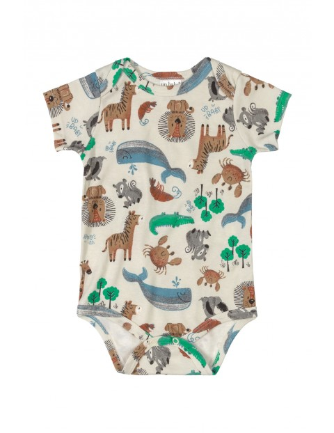 Body niemowlęce w zwierzaki - szare
