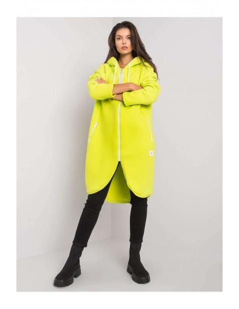 Bluza dresowa damska długa z kapturem - żółta