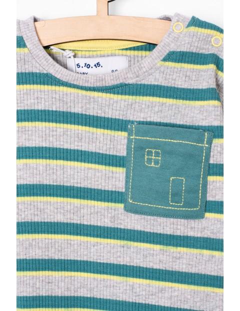 Bluzka niemowlęca w paski z kieszonką