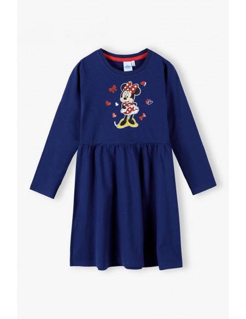 Sukienka dziewczęca bawełniana z długim rękawem Minnie