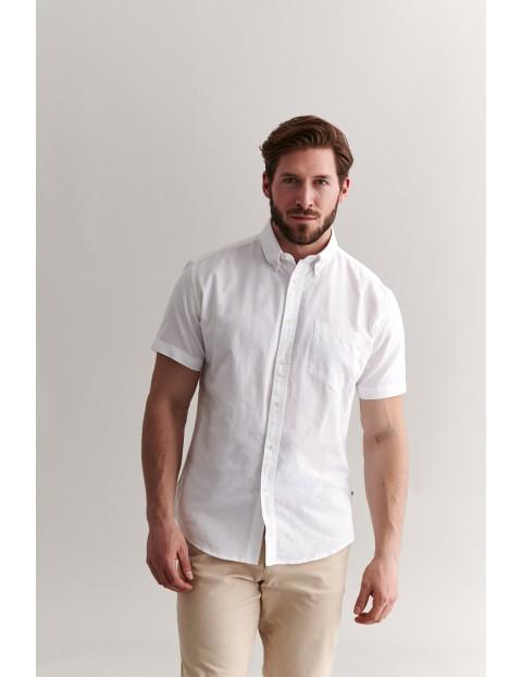 Bawełniana koszula męska na krótki rękaw - biała