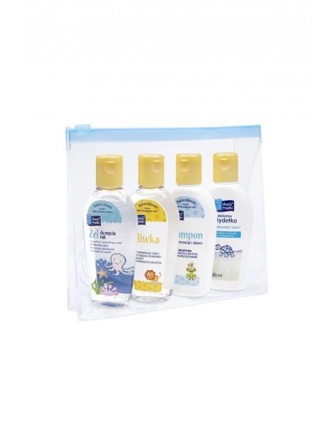 Zestaw kosmetyków Oliwka 80ml Mydełko 80ml Szampon 80ml Żel do mycia rąk 80ml Kosmetyczka