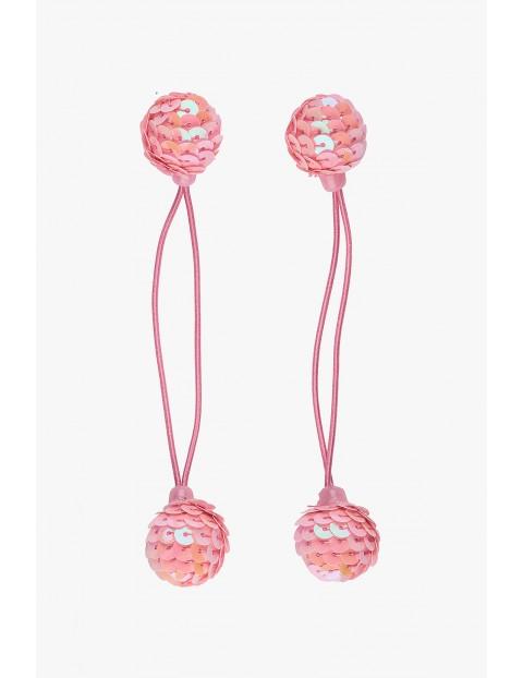 Różowe gumki do włosów z cekinowymi kulkami
