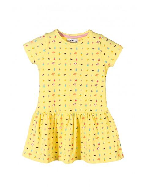 Sukienka dziewczęca bawełniana-żółta