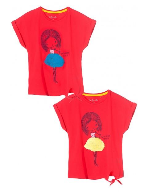 T-shirt dziewczęcy z odwracanymi cekinami